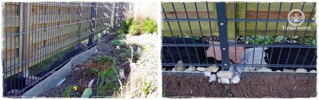 Gartenblog Topfgartenwelt Unkrautvlies im Test: Verlegen von Unkrautvlies mit Hilfe von Nägeln und Steinen