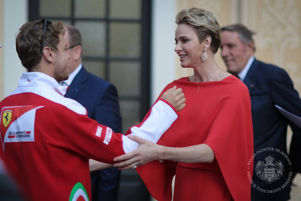 Prince Albert, Princess Charlene of Monaco and Princess Caroline of Hannover held a a reception for Monaco Grand Prix Formula 1 at Prince's Palace in Monaco.