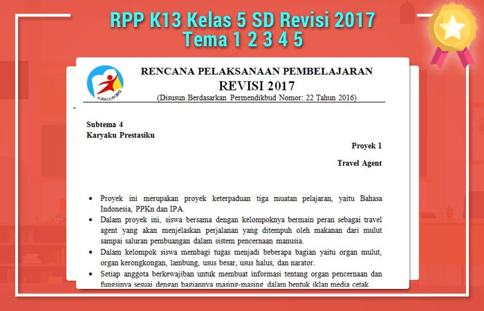RPP K13 Kelas 5 SD Revisi 2017 Tema 1 2 3 4 5