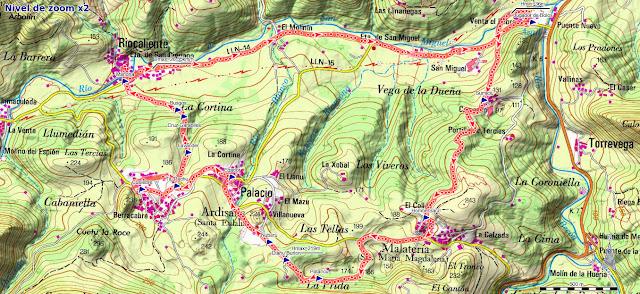 Mapa de la ruta del Camino Encantado