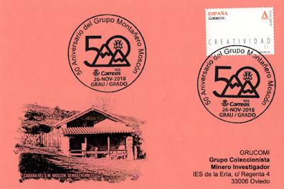Tarjeta Grucomi con el matasellos del 50 aniversario del Grupo de montaña Moscón de Grado