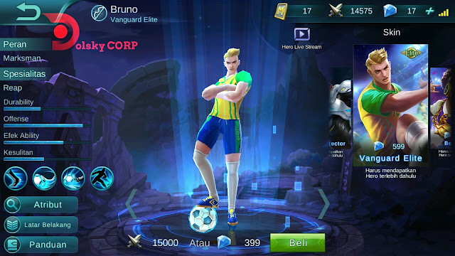 Hero Bruno ( Vanguard Elite ) High Attack Build Set up Gear