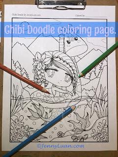 Chibi Doodle Giraffe Mermaid coloring page