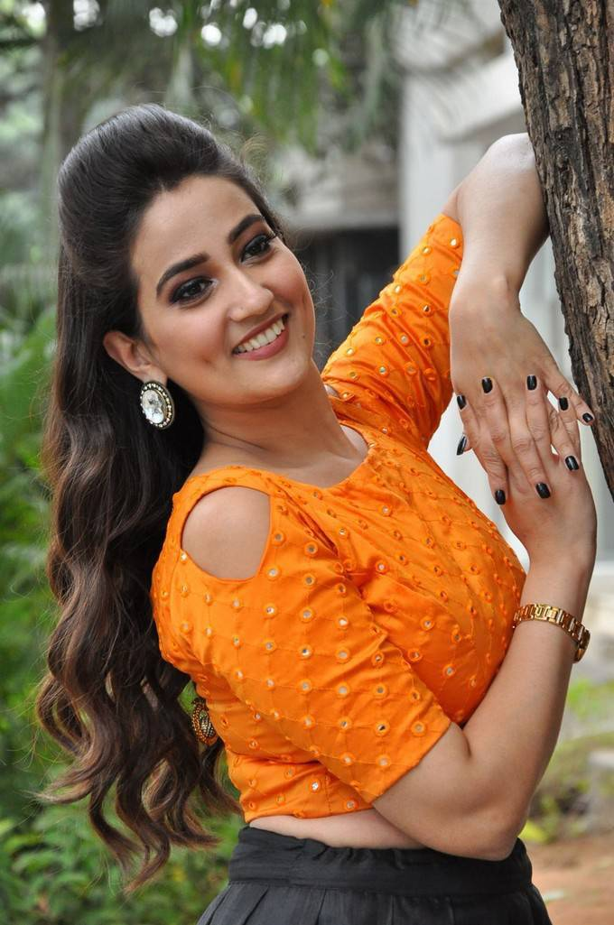 Anchor Manjusha In Black Lehenga Choli At Hello Telugu Movie Press Meet