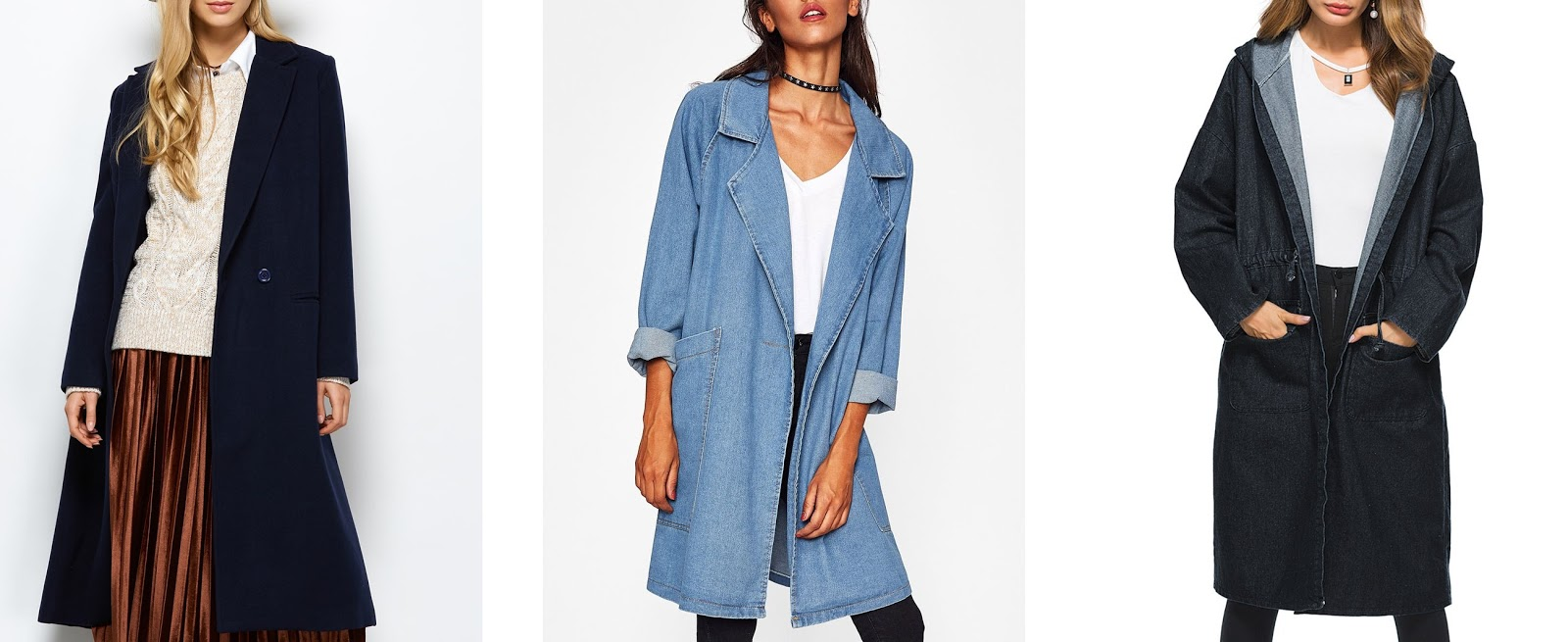 rosegal, online fashion, denim jacket, laple maxi coat, hooded denim jacket