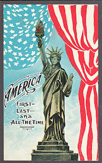 America vintage postcard of American Flag, Statue of Liberty from 1918