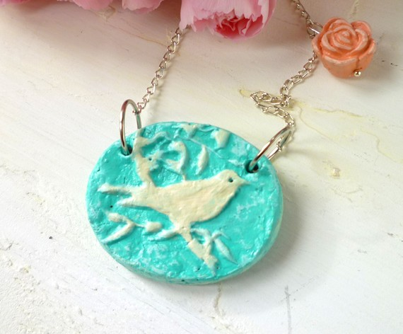 recycled paper bird necklace