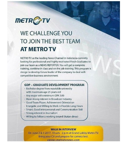 Lowongan Kerja Metro TV Juni 2017