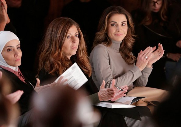 Queen Rania attended Business of Fashion's Voices conference at Soho Campus. wore Fendi skirt and pumps