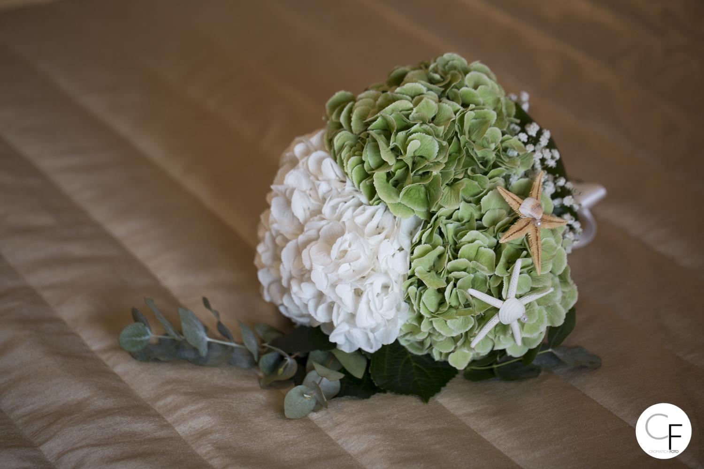 Bouquet sposa ortensia bianco e verde