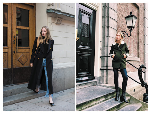 Образы с пальто и бушлатом в стиле милитари с улицы