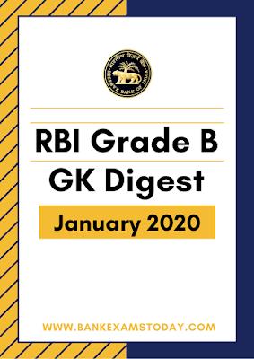 RBI Grade B GK Digest: January 2020