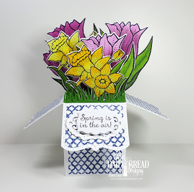 Our Daily Bread Designs Stamp Sets: Tulips, Daffodils, Rope Background, Custom Dies: Surprise Box, Tulip, Daffodil, Vintage Borders, Grass Lawn, Labels
