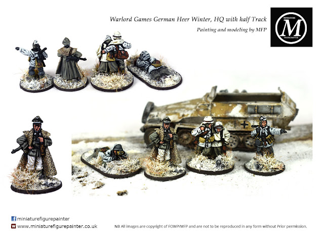 Warlord Bolt Action 28mm German Heer command in winter camo painted by Miniature Figure Painter