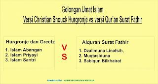 Hikmah 313 Golongan Umat Islam versi Christian Snouck Hurgronje vs Versi Alquran Hadits (bag 2)
