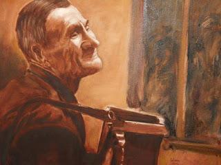 'El hombre del acordeón', óleo de la artista española Paloma Fernández Barreno, tomado de www.artelista.com