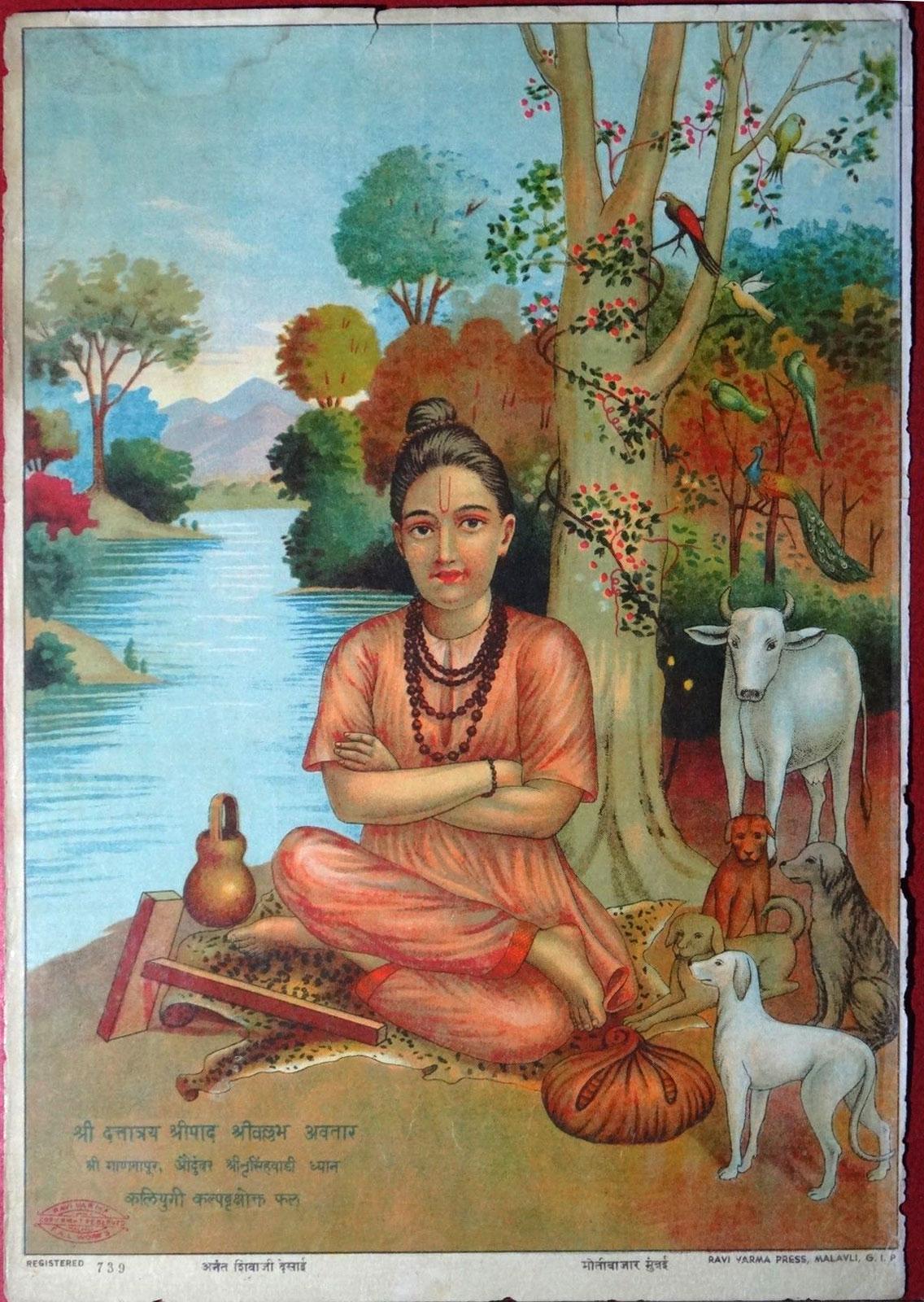 Dattatraya - Vintage Olegraph/Lithograph Print, Ravi Varma Press c1910-20