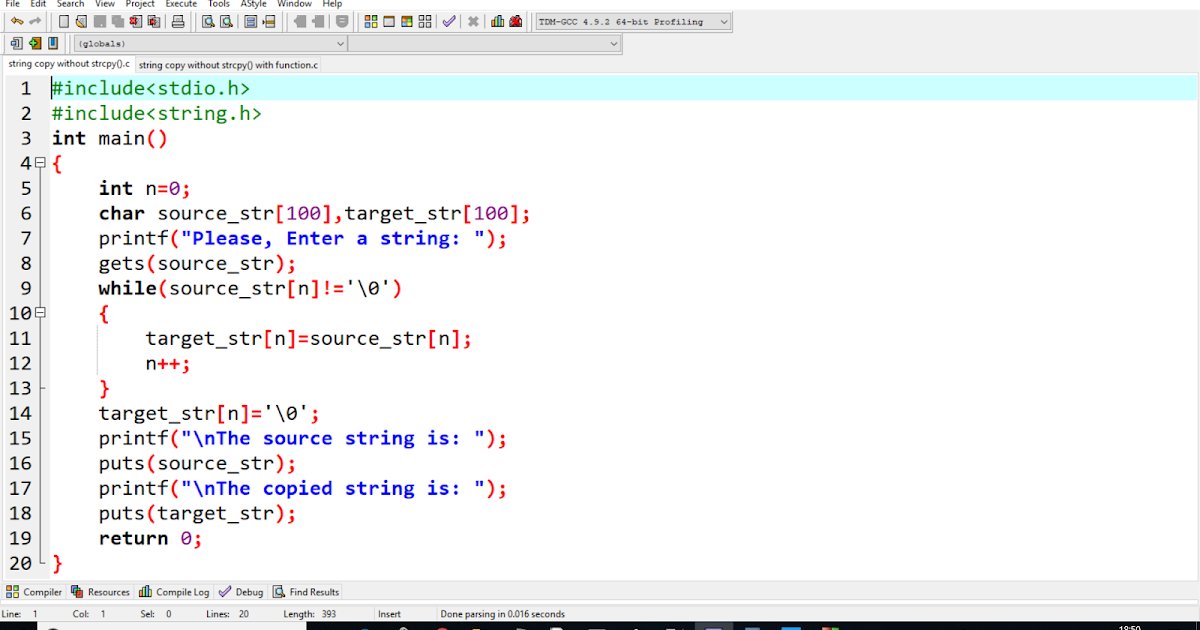 String Copy without strcpy() in C-Language