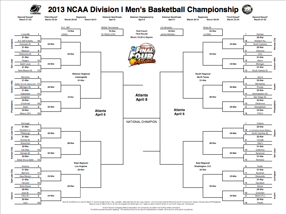 Music Is My Soul March Madness Men S 2013 Brackets Printable Ncaa