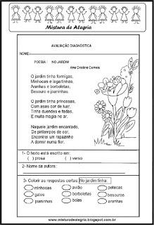 Avaliação de português tema primavera