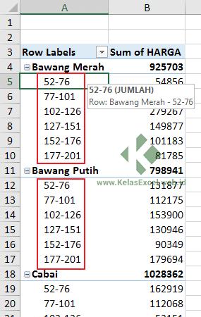 Mengelompokkan rentang angka pada pivot tabel