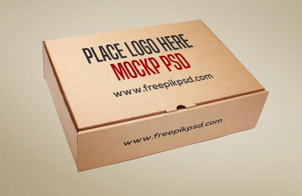 Brown Cardboard Box Mockup PSD