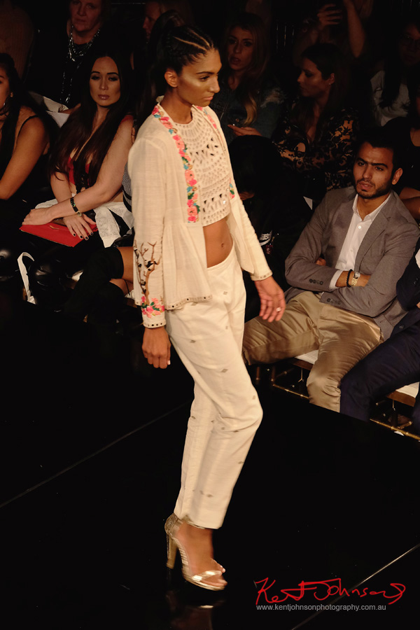 Jacket crop-top and pants. Purvi Doshi shows at New York Fashion Week with Art Hearts Fashion. Photography by Kent Johnson for Street Fashion Sydney.
