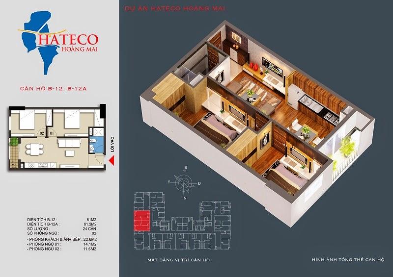 mặt bằng chung cư Hateco Hoàng Mai căn hộ B1613