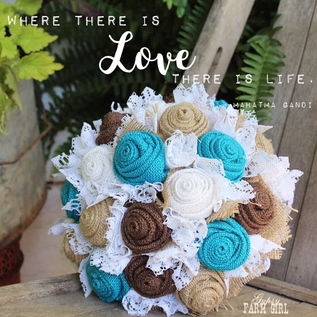 Gypsy Farm Girl Burlap and Lace Wedding Bouquet