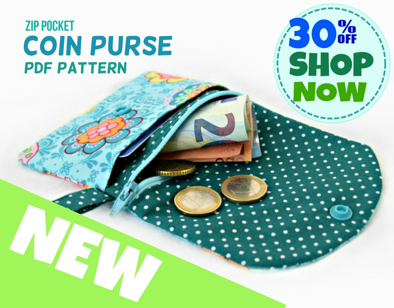 New Coin Purse Pattern - 30% off for 2 days only.