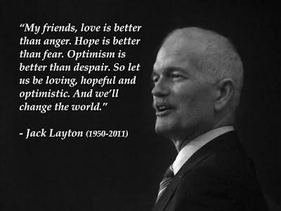 Citation, Jack Layton, photo noir et blanc, lettres blanches