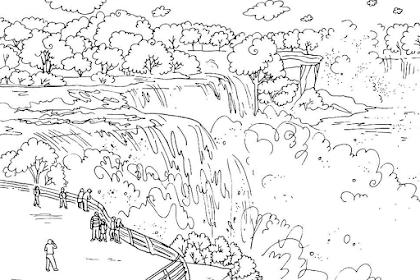 Gambar Pemandangan Air Terjun Untuk Mewarnai