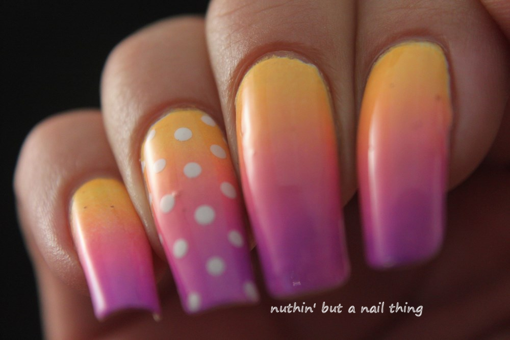 bright gradient polka dots nail art design