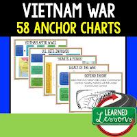 Vietnam War Anchor Charts, American History Anchor Charts, American History Classroom Decor, American History Bulletin Boards, ESL Activities, ELL Activities, ESS Activities