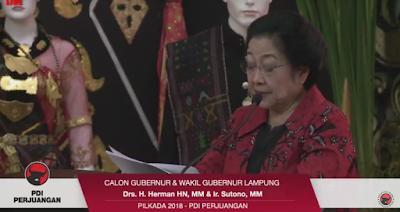 Megawati Umumkan Rekomendasi PDIP ke Herman HN-Sutono Sebagai Cagub dan Wagub Untuk Pilgub Lampung 2018