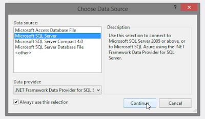 visual studio Data Source Continue