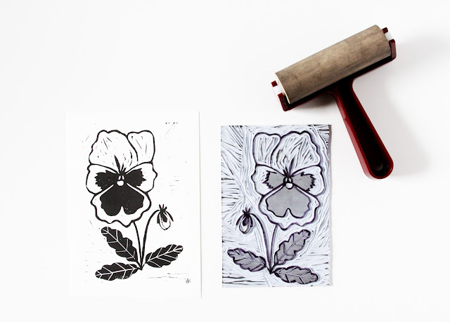 Pansies, linocuts, block prints, lino prints, Anne Butera, My Giant Strawberry