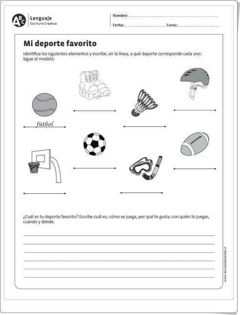 """""""Mi deporte favorito"""" (Ficha de Expresión Escrita de Lengua Española de Primaria)"""
