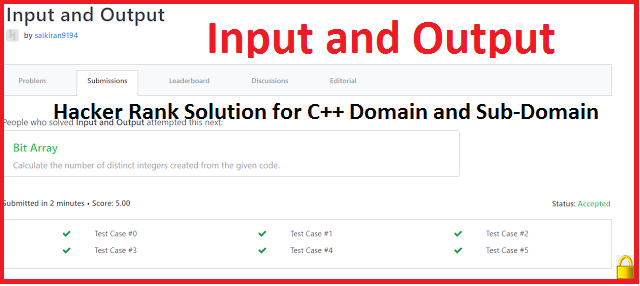 HackerRank Solution For Input and Output In C++