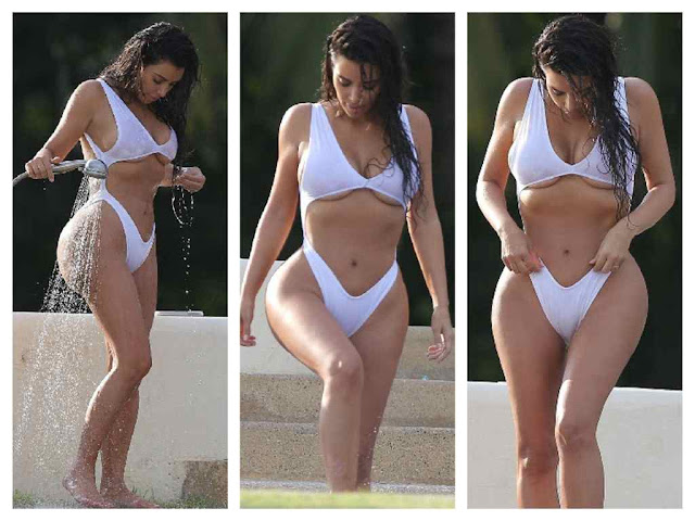 Kim Kardashian Hot White Swimsuit Photos