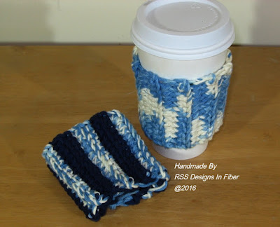 Cup Cozy Set of 2 in Blues - Handmade Reusable - By Ruth Sandra Sperling of RSS Designs In Fiber