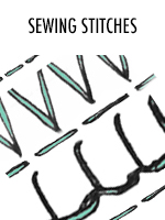 A bunch of different types of sewing stitches