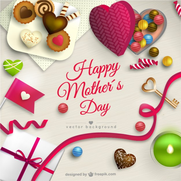 Mothers day card with sweets Free Vector