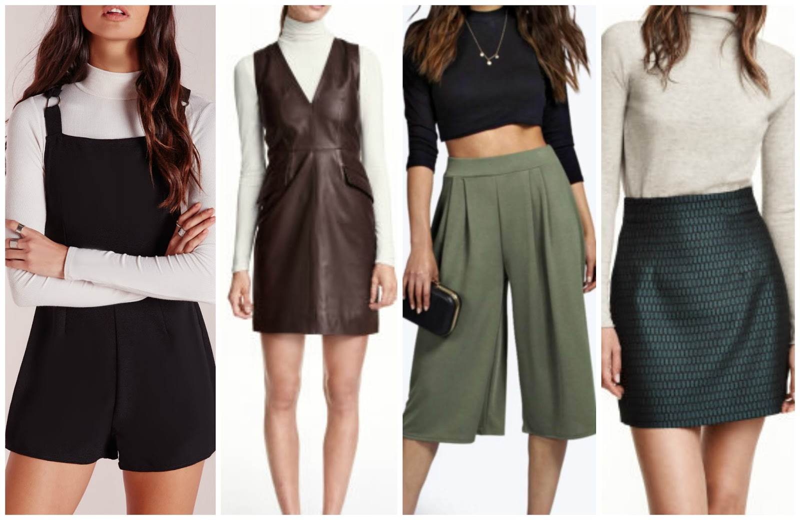 Missguided, Boohoo, H&M workwear fashion, leather dress, playsuit, a line skirt, jacquard skirt, wishlist, 100 ways to 30