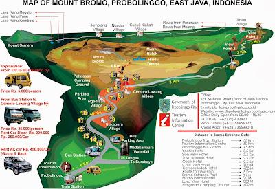 Map dan Rute Jalan menuju Puncak Gunung Bromo