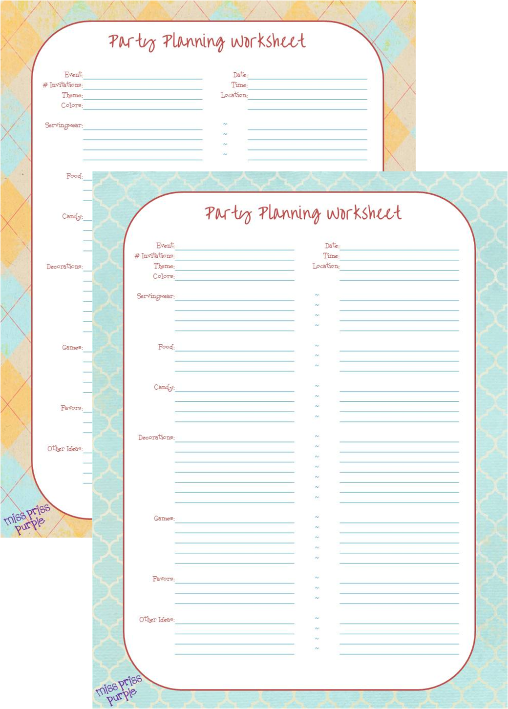 Miss Priss Purple Party Planning Printable