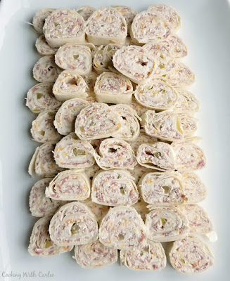 platter filled with bite sized pinwheels