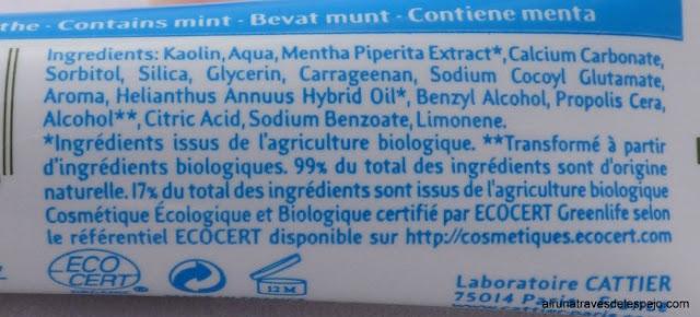 ingredientes pasta dientes cattier cosmetica natural