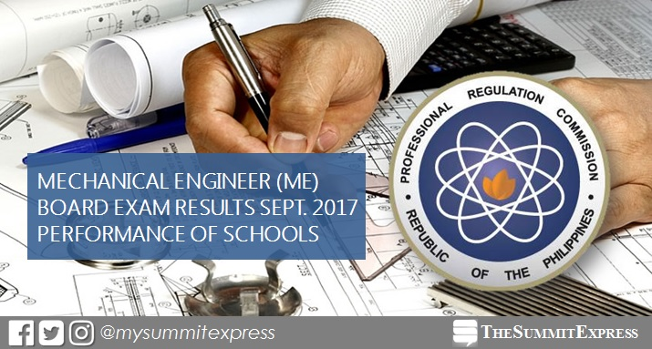 Performance of schools: Mechanical Engineer ME, CPM board exam September 2017