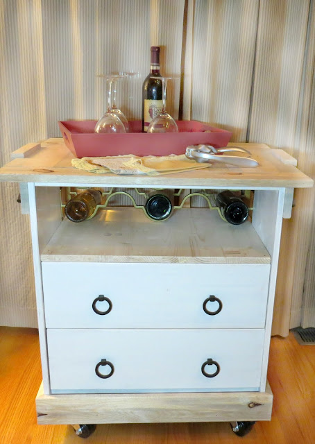 2015 D&LP Bar Cart made from One board Challenge top and Rast Ikea Dresser Menards Sponsor
